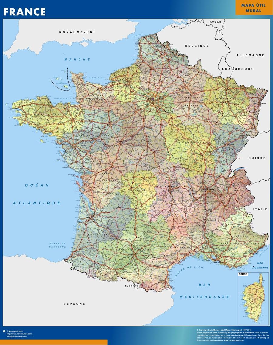 Frankreich landkarte wandkarte