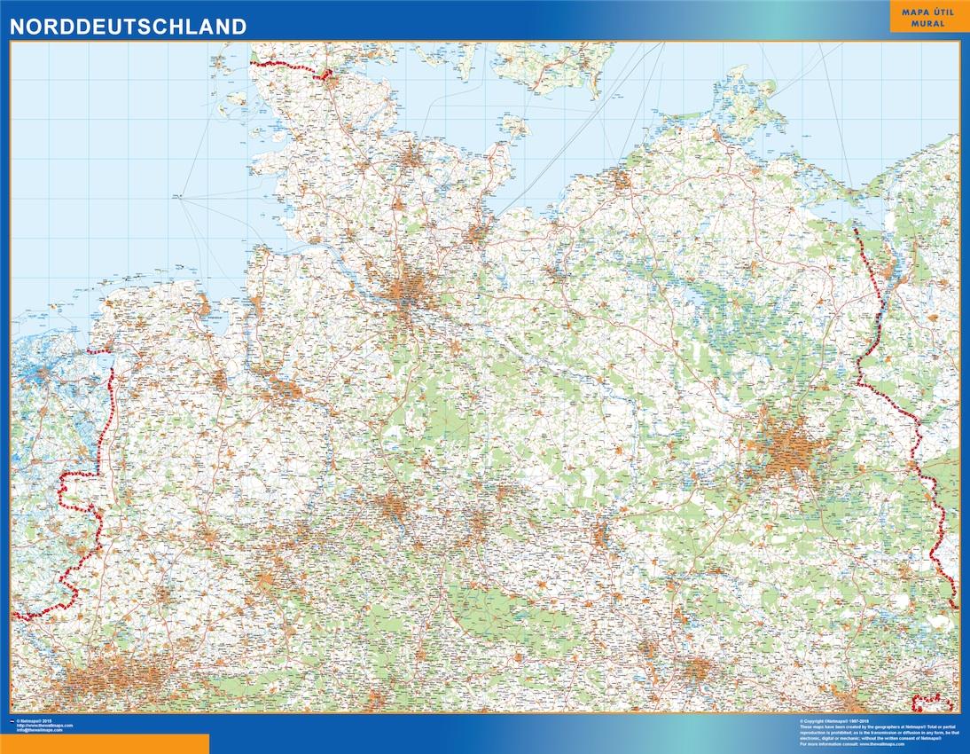 Norddeutschland Landkarte wandkarte