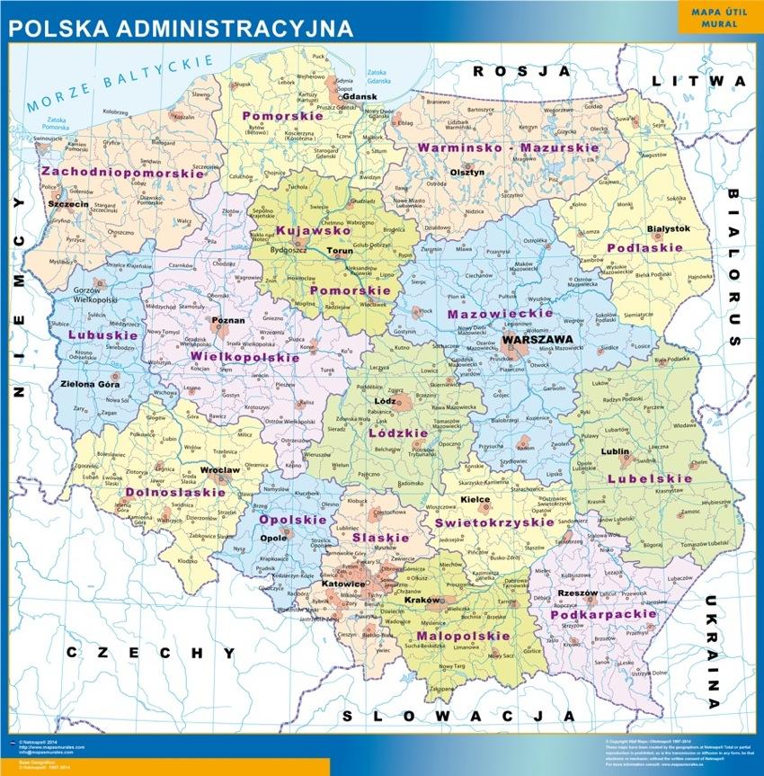 Polen landkarte wandkarte