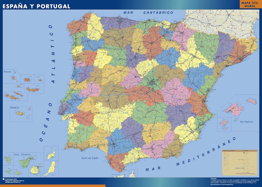 Spanien landkarte wandkarte