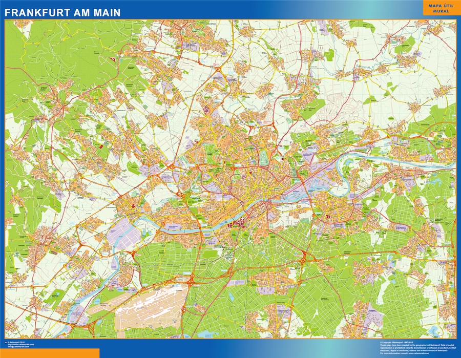 Stadtplan Frankfurt Am Main wandkarte