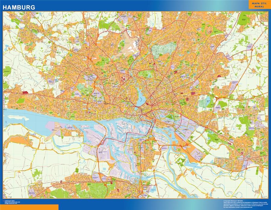 Hamburg Stadtplan wandkarte