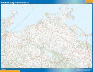 Mecklenburg-Vorpommern Wandkarte